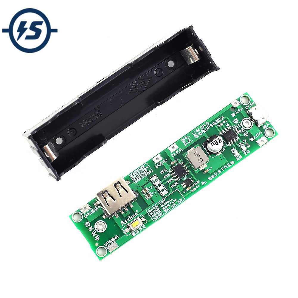 UPS Power Supply Battery Charging Board 18650 Lithium Charger Protection Boost Converter Step UP Module 5V 1A 2A image