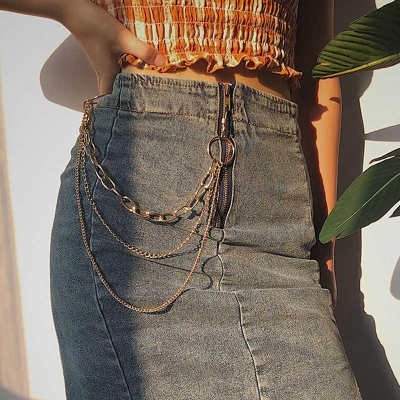 Punk Hip-Hopอินเทรนด์เดี่ยว/สามชั้นเข็มขัดโซ่เอวกางเกงโซ่กางเกงยีนส์ยาวเสื้อผ้าอุปกรณ์เสริมเครื่องประดับแฟชั่น