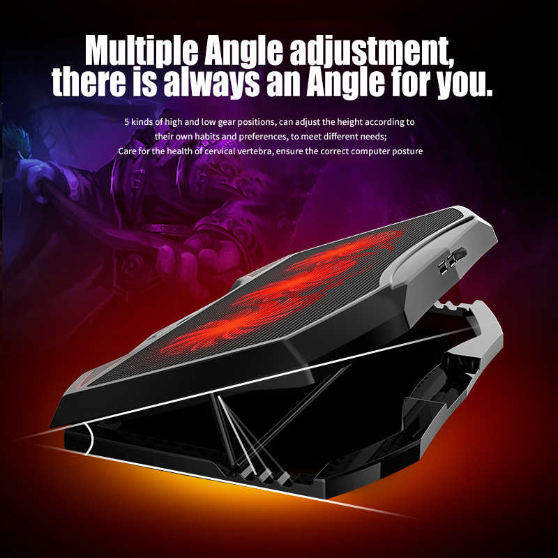 Laptop Folding Stand Met Koelventilator Anti Slip Verstelbare Hoek Hoogtes Laptop Stand 17 Inch Zwart Draagbare Ventilador Para