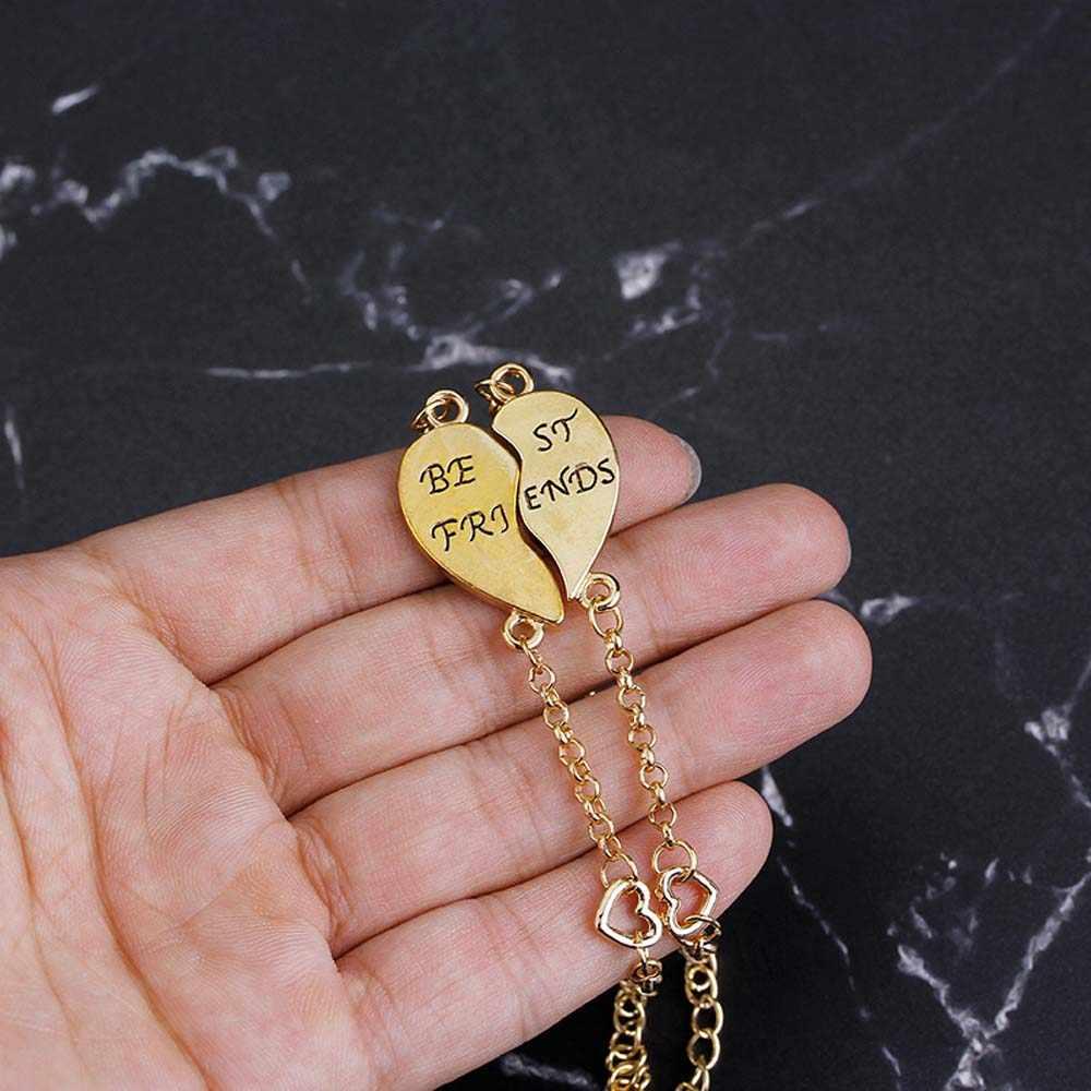 Charm 2 unids/set mejores pulseras de amigos para las mujeres niñas rompecabezas corazón brazaletes oro plata AMISTAD para siempre Bff joyería regalo
