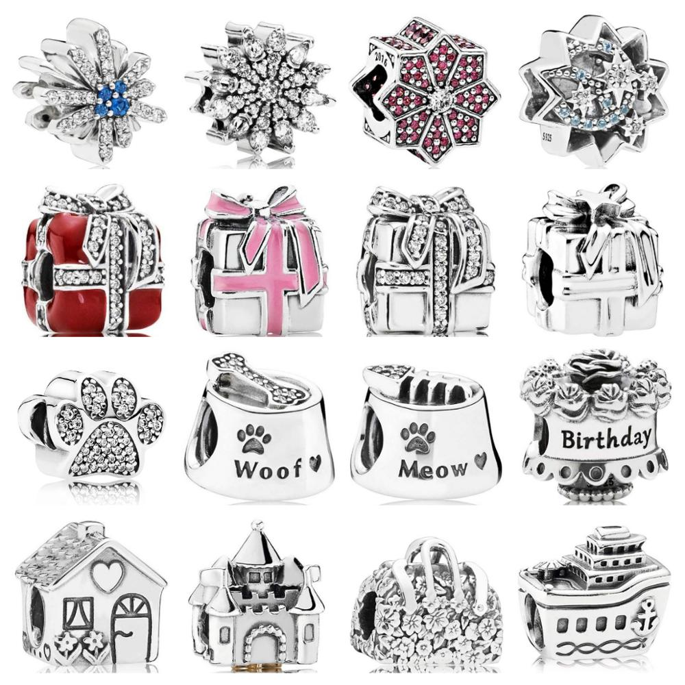 PDB  ZZ  28   Silver 925 Jewelry Cruise Castle Crown House Birthday Cake Glamour Fireworks Factory Wholesale Charm Beads