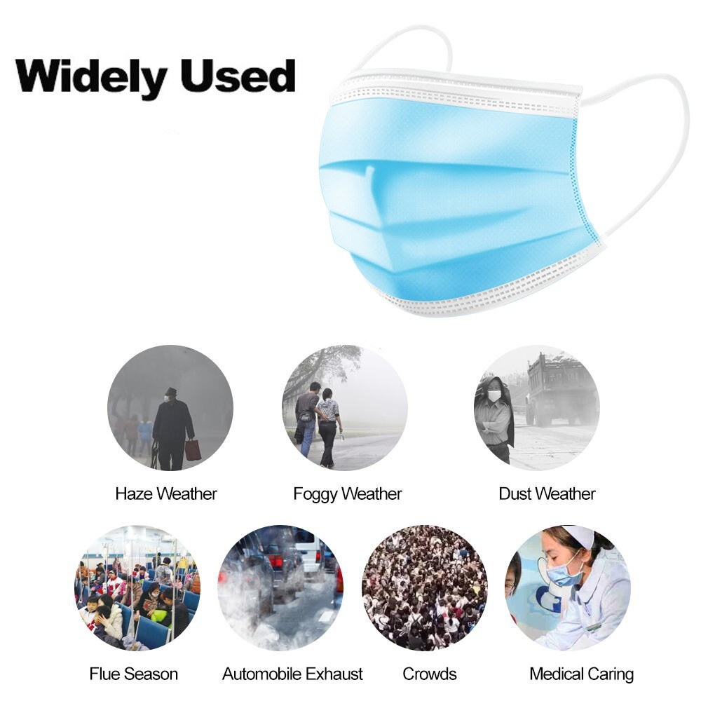 5/10/20/50pcs 3 layer Disposable Non Woven Masks Filter Medical  Dustproof PM2.5 Mouth Nose Anti Coronavirus face Masks FFP3  -