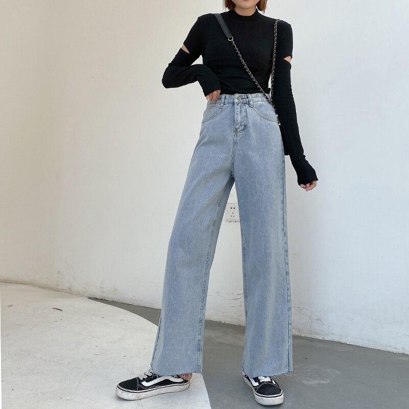 igh Waist Denim Female Flare Jeans  Women Plus Size Wide leg pants Waist Slim  Jeans Denim Solid Tassel Fat Mom Jeans Woman blue