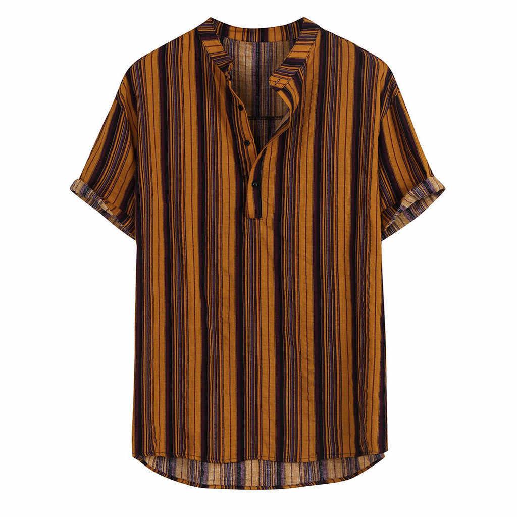 패션 줄무늬 남성 셔츠 스탠드 목 단추 streetwear 캐주얼 브랜드 셔츠 남성 힙합 짧은 소매 풀오버 탑스 camisa 2020