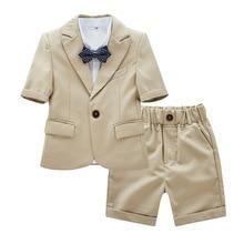 Summer Formal Children Short Suit Suit Flower Boy Wedding Party Show Dress Costume Little Kids Blazer Shorts Clothes Set