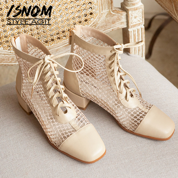 ISNOM Summer Boots Mesh Women Chunky High Heels Ankle Booties Woman Cow Leather Female Lace Up Shoes Zip Square Toe Shoes