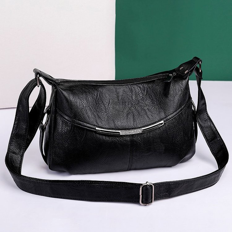 Luxury High Quality Women's Bag 2020 New Soft PU Washed Leather Handbag Brand Designer Ladies Shoulder Messenger Bag Black Main
