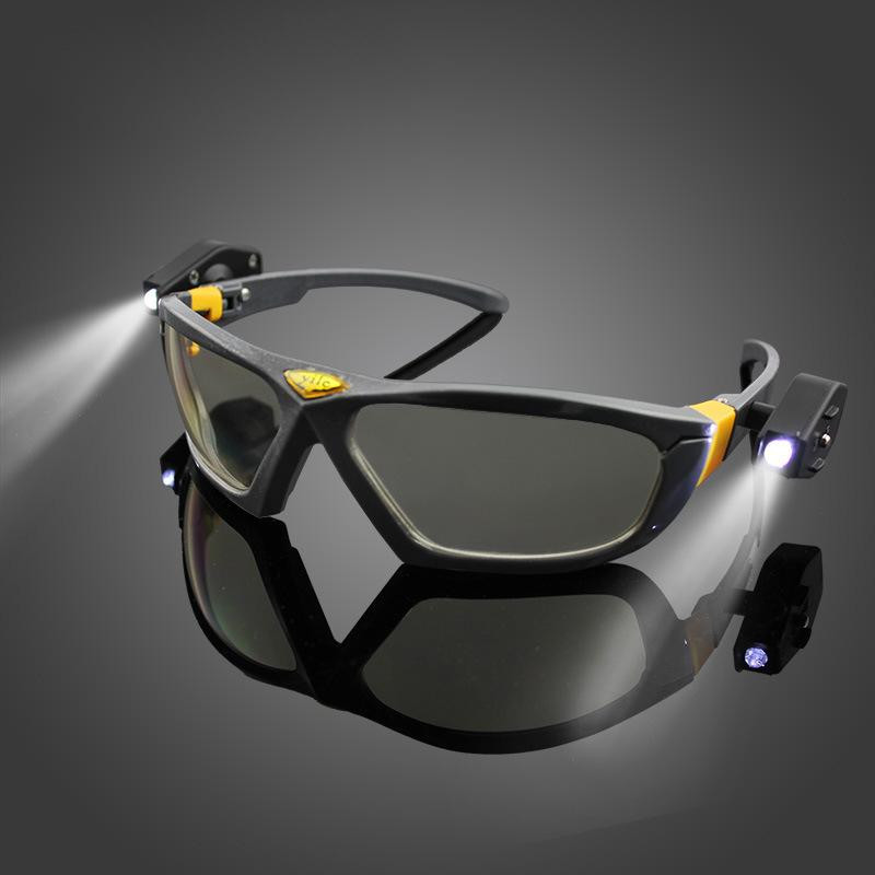 Safety Goggles Anti-impact Night Vision LED Light Goggles Reading Laboratory Glasses Industrial Work Safety Night Riding Repair