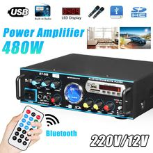 12/220V 480W Audio Power Amplifier 2CH HIFI Digital bluetooth Stereo Subwoofer B