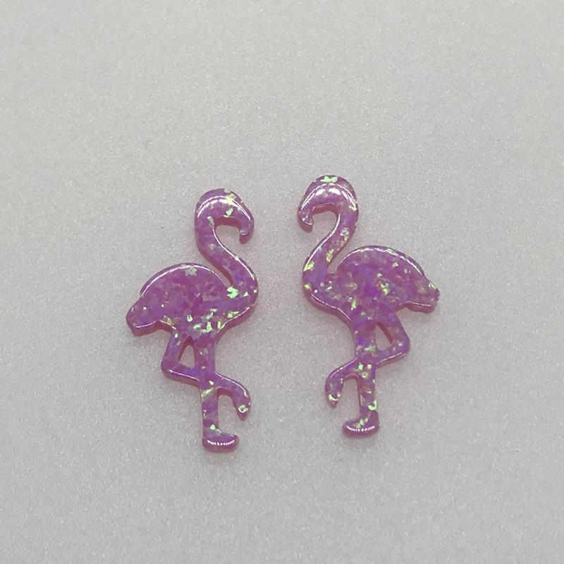 Хилл-сан Лотос 30 шт./лот 12,2*23,9 мм розовый цвет синтетический опал в форме Фламинго кулон для ожерелья