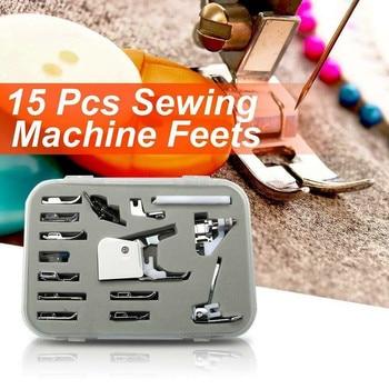15 Uds prensatelas para máquina de coser Kit de pies con caja Brother Singer Janom máquinas de coser herramientas para pies accesorios de costura