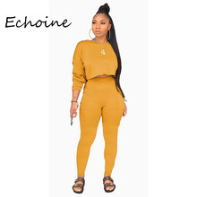 Echoine Autumn O-neck Two Pieces Set Long Sleeve Sweatshirt + Pant Suit With Pocket Tracksuit Women Solid 5 Color Plus Size 2XL(China)
