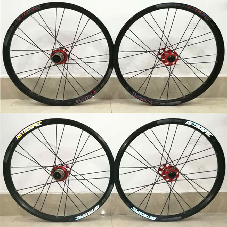 MTB Mountain <font><b>BMX</b></font> Bicycle Folding Bike 4 Sealed Bearing Round Spokes 24Hole Small <font><b>Wheel</b></font> Diameter Wheelset <font><b>20</b></font> Inch Disc Brake image