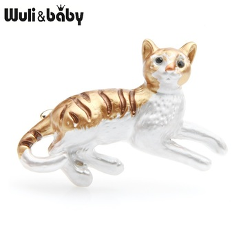 Wuli&baby Brown Enamel Cat Brooches Women Alloy Animal Casual Party Brooch Pins New Year Gifts enamel cat cactus pattern brooch