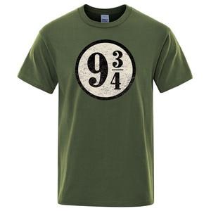 Vintage Platform nine and three quarters T Shirt Men Train to Hogwarts 934 T-shirt Casual Top Short Sleeves Tshirt O-Neck Shirts