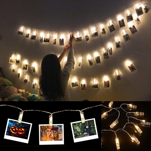 10 LEDs Photo Picture Clips String Lights Wall Light Wedding Party Christmas Home Decor Lights Hanging Paintings Pictures Card