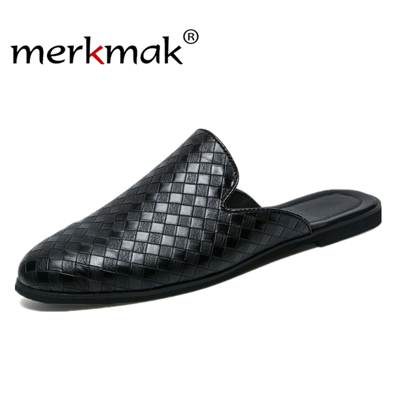 Merkmak Fashion Business Men Loafers Pu Leather Slippers Weaving Breathable For Man Outdoor Lightweight Men Half Shoes
