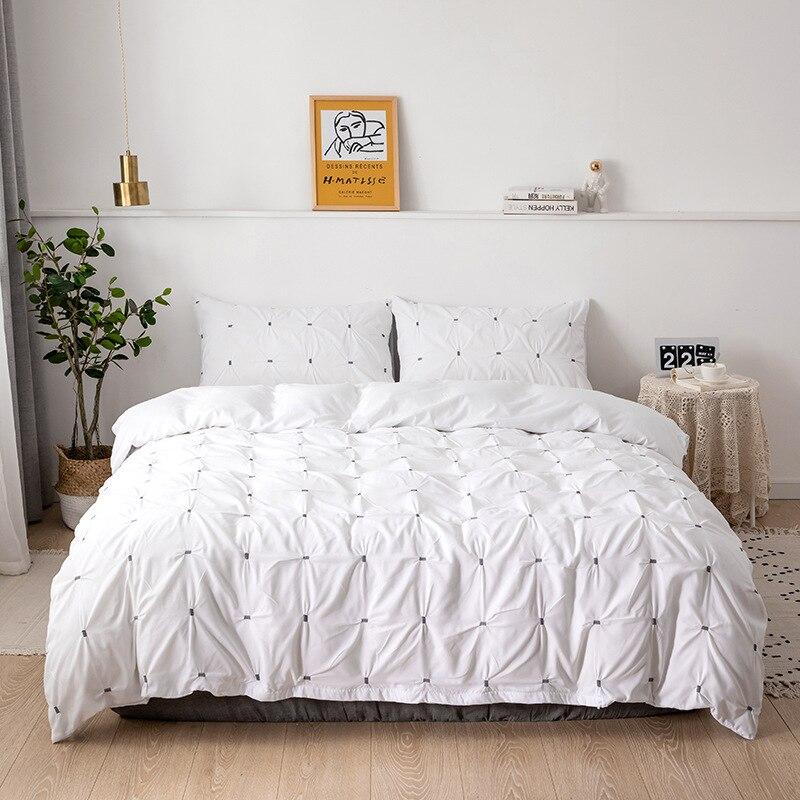 2/3pcs Plain Grace Solid Color Pinch Pleat Elastic Force Grid Duvet Cover Pillowcases Third Dimension Bedding Sets No Bed Sheet