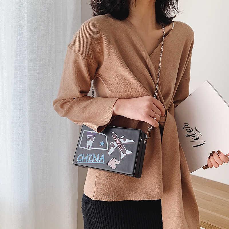 لطيف الكرتون القط طباعة موضة النساء المحافظ وحقائب اليد صندوق شكل حقيبة كتف الإناث حقيبة صغيرة حقيبة كروسبودي حمل حقيبة بوسا