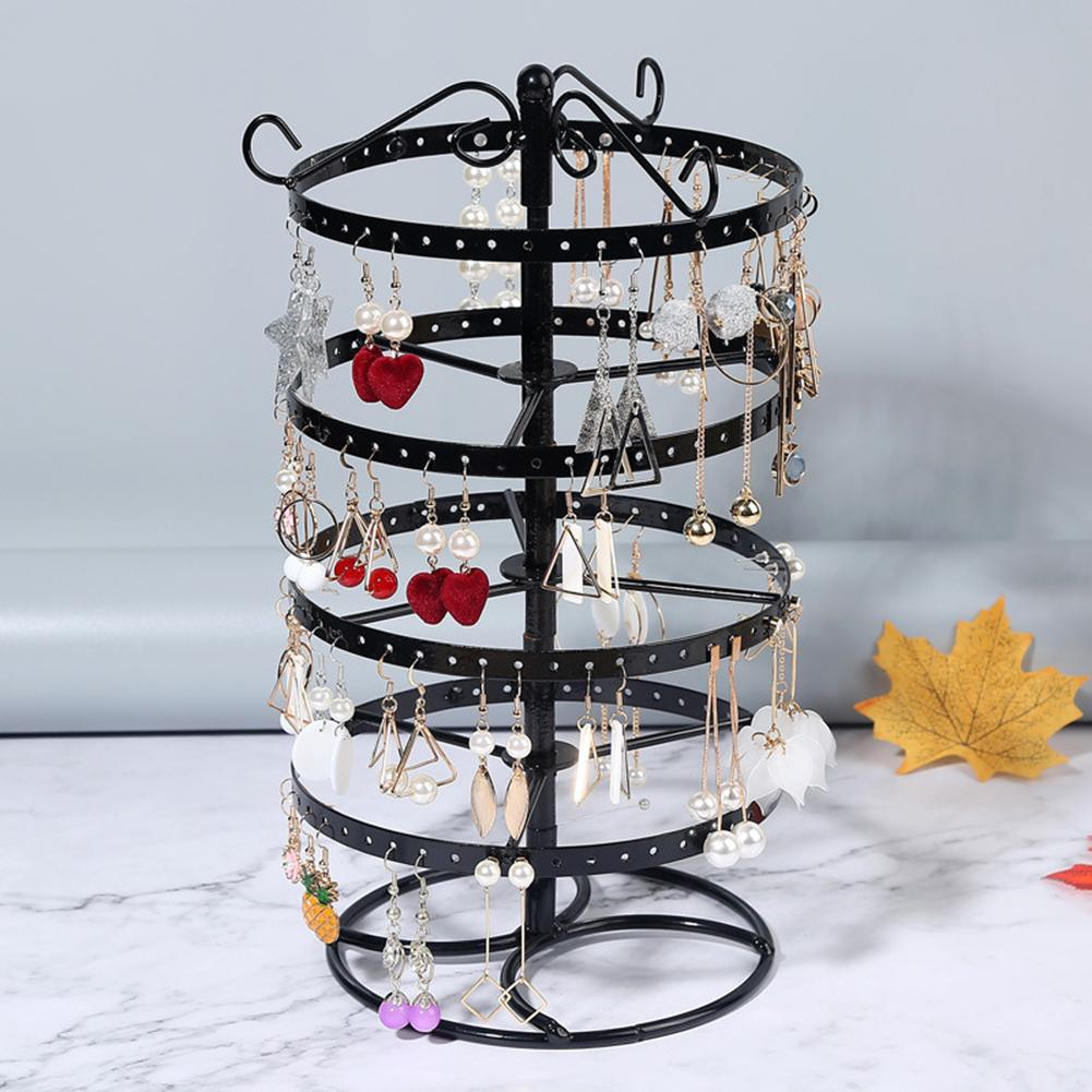 4 Tier Round Rotating Alloy Earrings Jewelry Holder Stand Organizer Display Rack Earrings Holder Ear Studs Jewelry Holder Stand