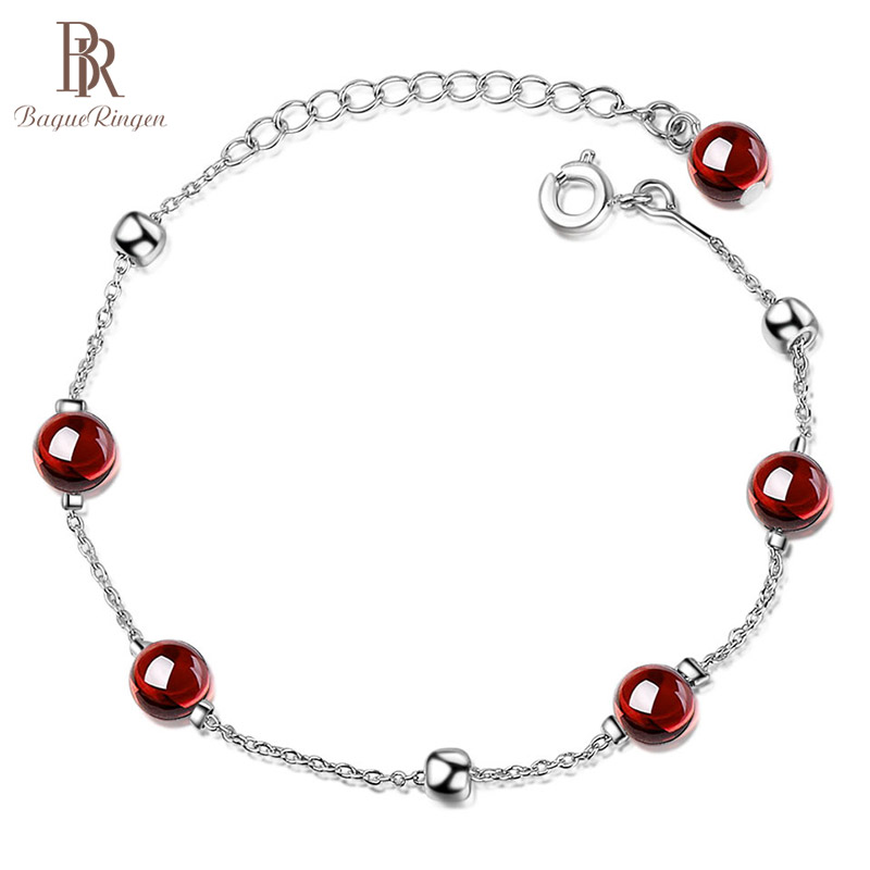 Bague Ringen Temperament Simple Korean Style Round Garnet Bracelet For Women Sterling Silver 925 Jewelry Office Lady Weddings