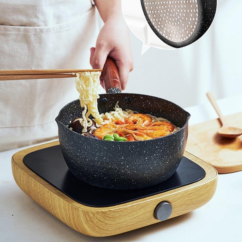 Black Aluminum Snow Mini Non-Stick Soup Cooking Pot Milk Pot Japanese Food Pot For Kitchen Pan Frying Pan