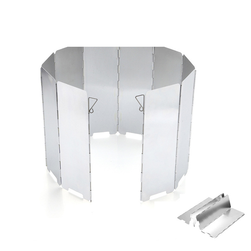 9 Plates Stove Windshield Portable And Foldable Outdoor Camping Cooking Cooker Gas Stove Aluminium Alloy Wind Screen Shield