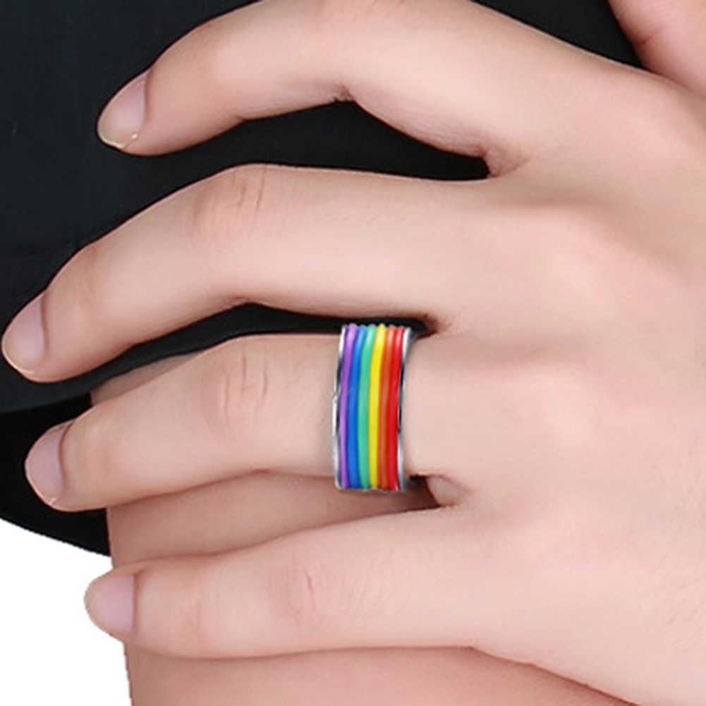 """Mens נשים קשת צבעוני להט""""ב טבעת נירוסטה נישואים Lebian & הומו טבעות"""
