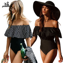 2018 New Sexy Off The Shoulder Solid Swimwear Women One Piece Swimsuit Female Bathing Suit Ruffle Monokini Swim Wear XL(China)