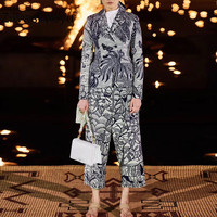 Ziwwshaoyu Spring Summer Designer 100 % Cotton Two Piece Set Forest Animal Printing Vest + Pants High Quality Suits Clothing