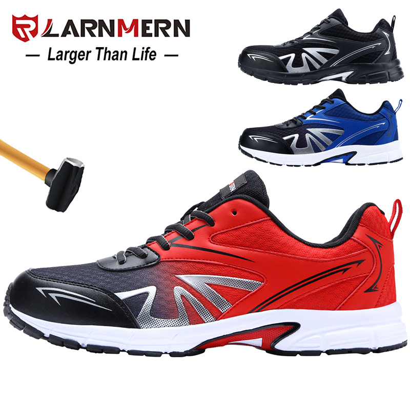 LARNMERN Men's Steel Toe Safety Work Shoes Lightweight Breathable Anti-smashing Non-slip Construction Protective Footwear