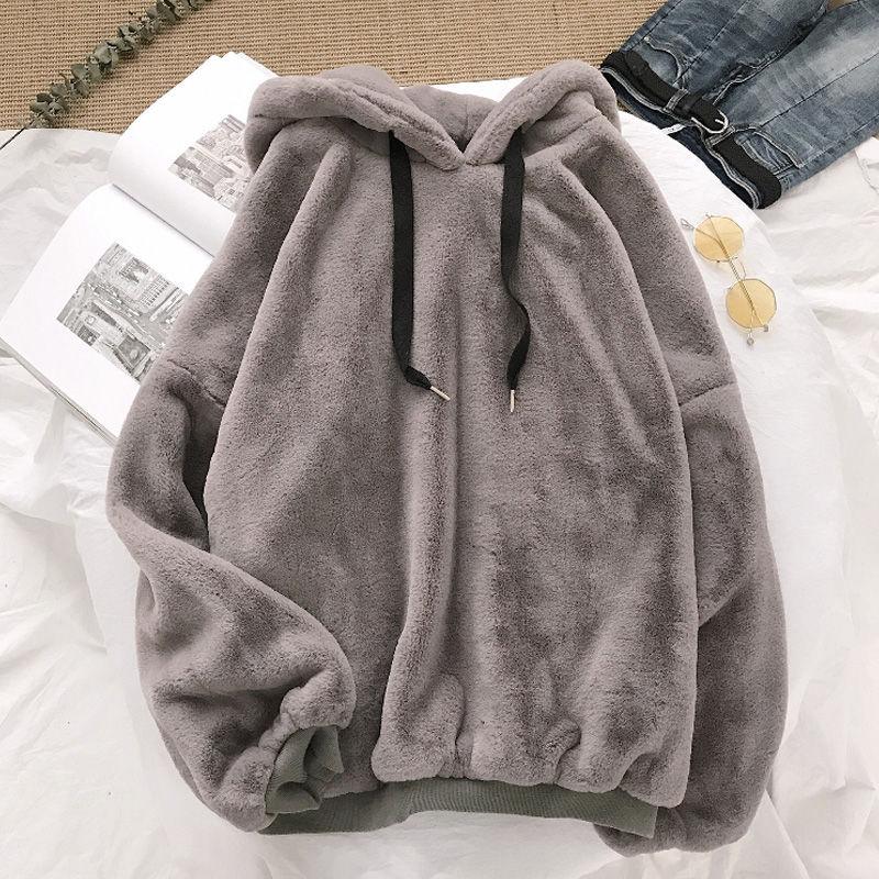 Autumn Winter Coats Soild Sweet Hooded Women Harajuku Loose Casual Warm Hoodies Ladies Fleece Flannel Pullover Female Sweatshirt 1