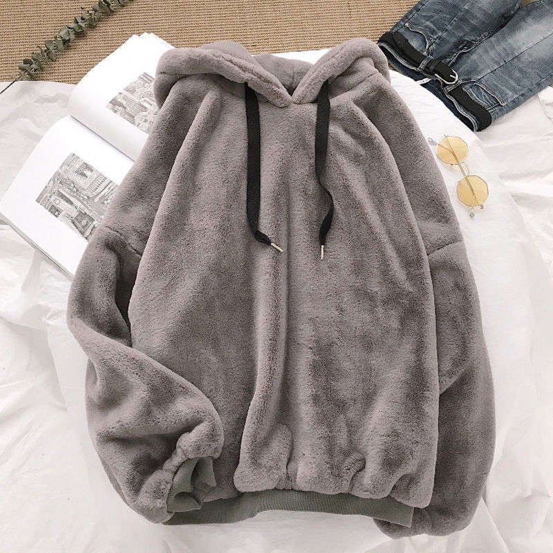 Flannel Pullover Coats Hooded Female Sweatshirt Harajuku Loose Autumn Sweet Ladies Fleece