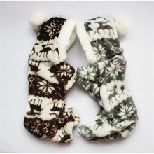 The New Autumn And Winter Snowflake Soft Fleece Dog Clothes Pet Dog Dress Pattern Coral Velvet Deer Christmas Puppy Coat Four Ha coral fleece striped turtleneck clothes for dog