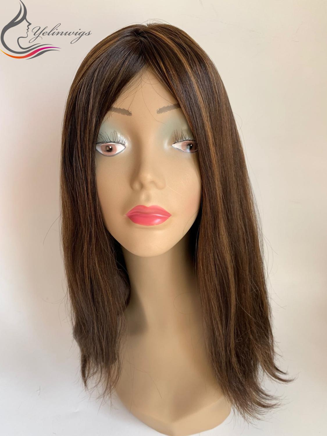 Natural Straight Hair Jewish Wig Kosher Wig Fashion Highlight Color Top European Virgin Hair Wigs