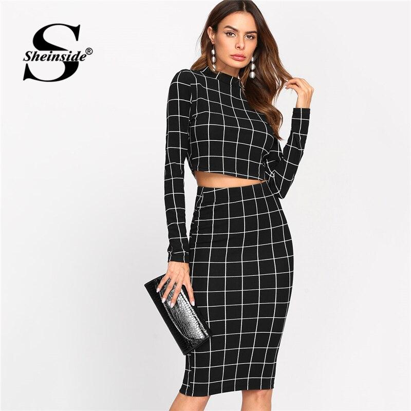 Sheinside Stand Collar Long Sleeve 2 Piece Set Women Crop Grid Top and Pencil Skirt Ladies Elegant Office Ladies Two Piece Set