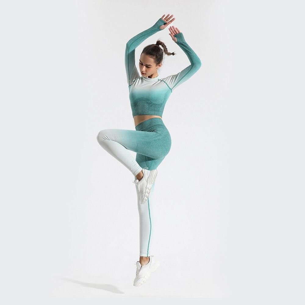 GYMQUASAR Ombre dikişsiz kadınlar Yoga seti Gym koşu spor spor giyim yüksek bel kırpma üstleri tayt spor takımları
