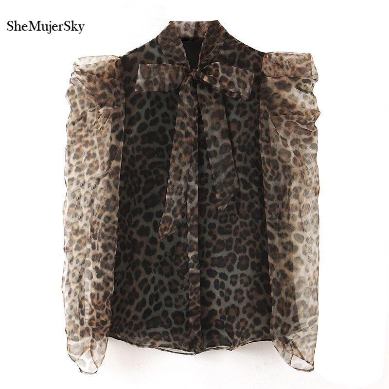 SheMujerSky Women Leopard Chiffon Blouse Bow Tie O-neck Long Sleeve Shirts 2019 Woman Top Autumn