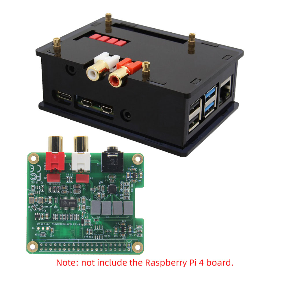 Raspberry Pi 4 Model B PCM5122 HIFI Audio DAC Expansion Board With Acrylic Case