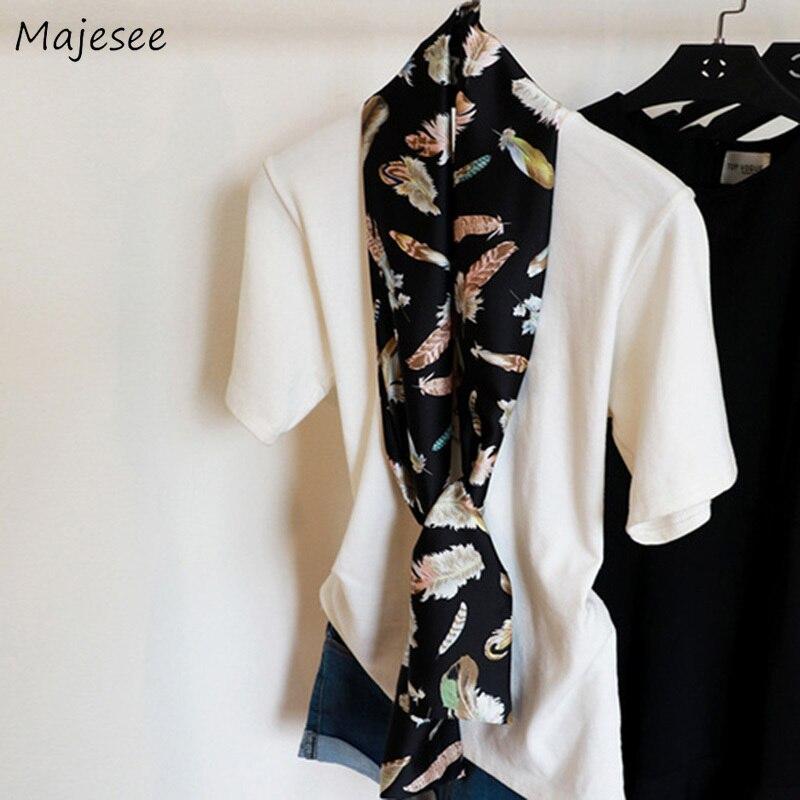 Женские шарфы с принтом, летнее длинное шелковое полотенце, женский длинный шарф, винтажный корейский стиль, Harajuku, подходит ко всему