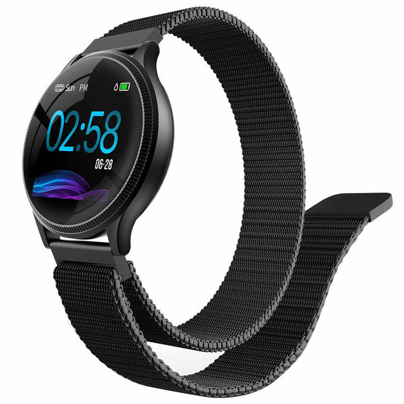 Hommes montre intelligente bracelet verre trempé sphère mince à 13mm fréquence cardiaque pression artérielle étape IP67 étanche pour android IOS