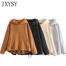 JXYSY hoodies women harajuku cotton solid patchwork pockets regular oversize sweatshirt plus size tops