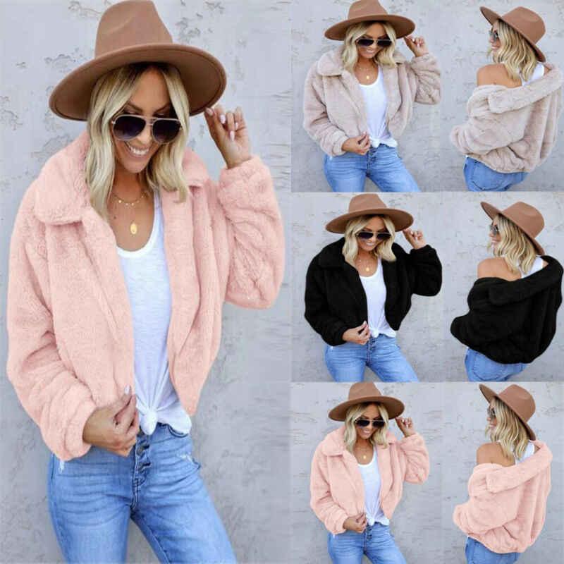 Quente grosso feminino fofo cortado casaco de lã lapela casaco de pele jaqueta casual inverno macio casaco de pele para mulher elegante casaco de pelúcia