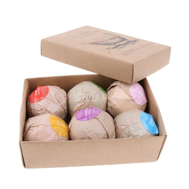 6pcs Handmade Natural Bath Salt Essential Oils Balls Kit Moisturize Dry Skin for Women Men Boys Kids 4