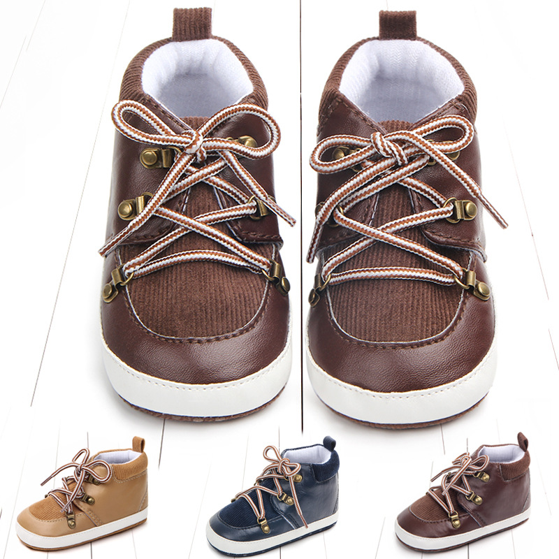 2019 Newborn Baby Boys Shoes First Walkers Soft Sole PU Leather Casual Sports Toddler Shoes Pre-Walkers 0-18M