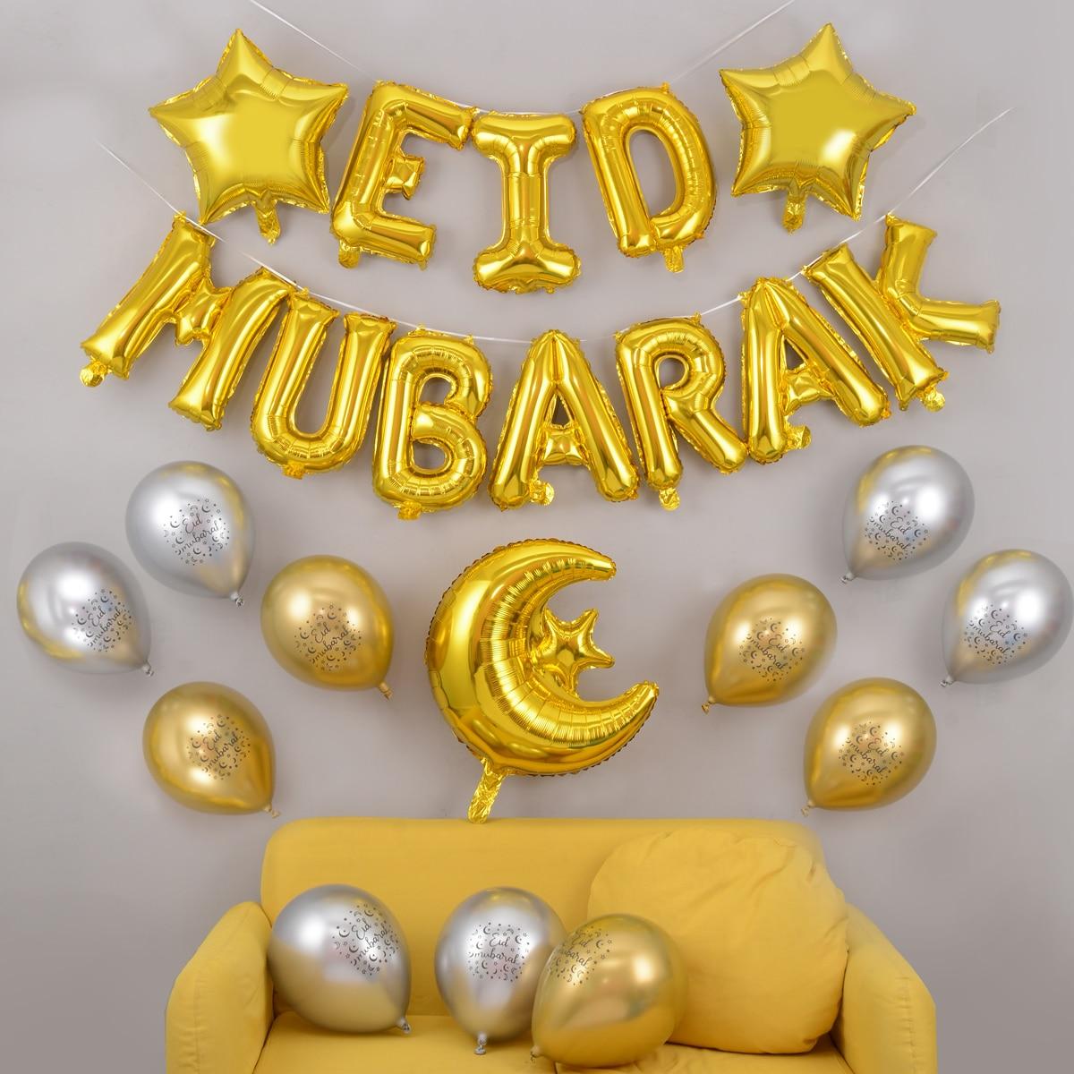 27pcs/Set Eid Mubarak Balloons Helium Latex Balloon Anniversaire Party Decoration Globo Aid Mubarak Decoration