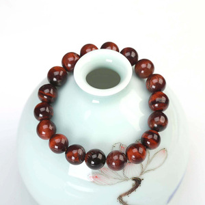 Image 4 - JD Classic 4 18MM Natural Stone Prayer Beads Tiger Eye Bracelet Handmade Red Brown Natural Stone Braclet For Men Yoga Jewelry