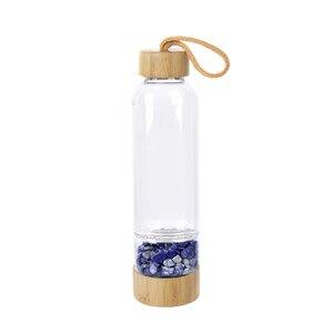 Drop Shipping Natural Crystal Quartz Gravel Gemstone Healing Glass Energy Elixir drink Water Bottle Bamboo glass cup gift