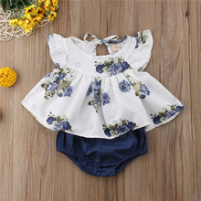 Twin baby girl floral ruffle tops pants outfit set
