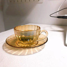 French Glass and Saucer Set Fashion Vintage Champagne Pumpkin Flower Tea Cup Modern Cup and Saucer Set